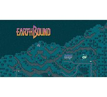 Earthbound - Onett Cliffs at Night with Logo Photographic Print