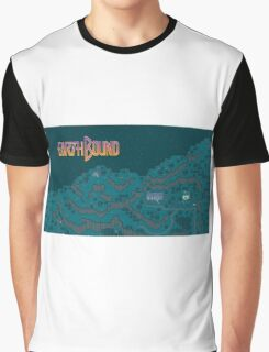 Earthbound - Onett Cliffs at Night with Logo Graphic T-Shirt