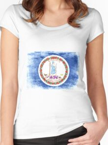 Virginia State Flag Distressed Vintage Shirt Women's Fitted Scoop T-Shirt