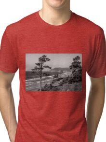 Cannon Beach View- Black and White Tri-blend T-Shirt