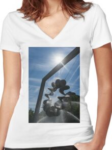Spiral Sculpture Fountain with a Sun Flare Women's Fitted V-Neck T-Shirt