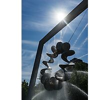 Spiral Sculpture Fountain with a Sun Flare Photographic Print