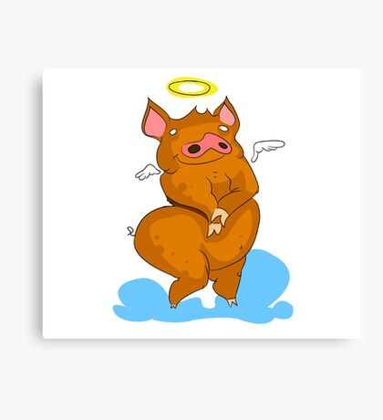 Pig with angel's wings Canvas Print