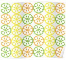 Citrus Pattern  - Orange, Lime, Lemon Poster