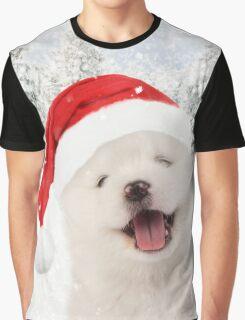 Samoyed puppy wearing Christmas hat Graphic T-Shirt