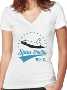 Space Shuttle Women's Fitted V-Neck T-Shirt
