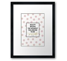 Beauty Begins - Coco Chanel Quote (Pink Dots) Framed Print