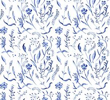Indigo blue watercolor herbal pattern by kisikoida