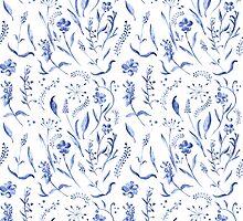 Indigo blue watercolor herbal pattern by kisikoida
