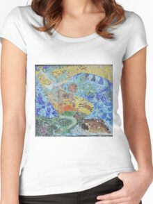Seaside, underwater themed mosaic 4 Women's Fitted Scoop T-Shirt