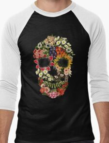 Floral Skull Vintage Black Men's Baseball ¾ T-Shirt