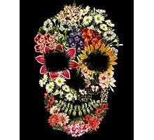 Floral Skull Vintage Black Photographic Print