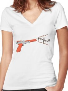 Cute Nes gun Women's Fitted V-Neck T-Shirt