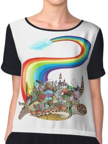 Flying Rainbow Turtle Chiffon Top