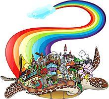 Flying Rainbow Turtle Photographic Print