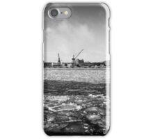 Gothenburg, frozen sea, cranes, shipyard iPhone Case/Skin