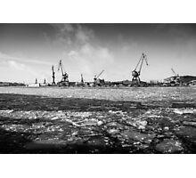 Gothenburg, frozen sea, cranes, shipyard Photographic Print