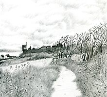 Coastal path at Crail in Fife [ East Coast of Scotland] [Pencil version] by Grant Wilson