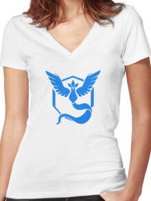 Pokemon GO Team Mystic Logo Women's Fitted V-Neck T-Shirt