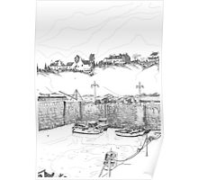 Harbour at Crail in Fife, on the East Coast of Scotland [ Digital Illustration] Poster