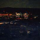 a coastal town at night by Simon L. Read