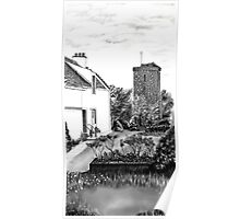 "The ""Hie Gait"" and ""St Serf's"" Tower in Dysart, Fife on the East Coast of Scotland [ Digital Architecture Illustration] Poster"