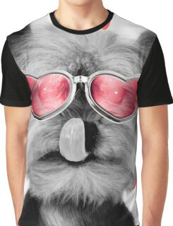 Cute Yorkshire Terrier dog wearing red heart glasses Graphic T-Shirt
