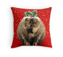 Funny Fat Christmas Pudding Cat Throw Pillow