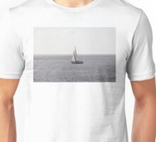 Sailing Boat on grey Sea Unisex T-Shirt