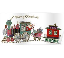 Cute Kawaii Merry Christmas Toy Train Santa is coming Poster