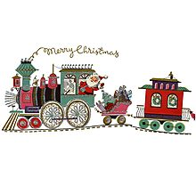 Cute Kawaii Merry Christmas Toy Train Santa is coming Photographic Print