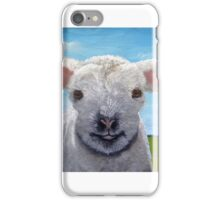 Happy Day farm animal landscape - lamb oil painting iPhone Case/Skin