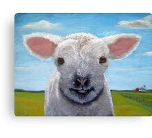 Happy Day farm animal landscape - lamb oil painting Canvas Print