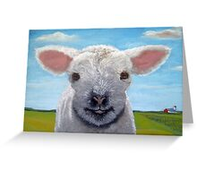 Happy Day farm animal landscape - lamb oil painting Greeting Card