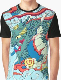 Tokyo Asakusa Dragon in Color Graphic T-Shirt