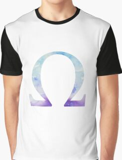 Blue Omega Watercolor Letter Graphic T-Shirt