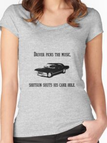 """Driver picks the music"" - Dean Winchester Quote Print Women's Fitted Scoop T-Shirt"