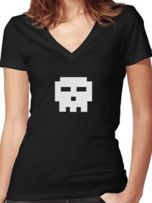 Scott Pilgrim - Pixel Skull Women's Fitted V-Neck T-Shirt
