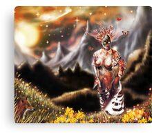 To a Plateau of Green Grass [Digital Fantasy Figure Illustration] Canvas Print