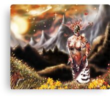 To a Plateau of Green Grass [Digital Fantasy Figure Illustration] Canvas Print