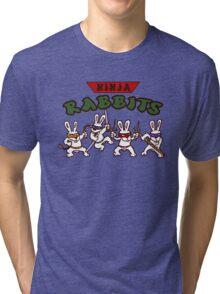 ninja rabbits for a geek nerd fun guy who like tmnt turtle Tri-blend T-Shirt