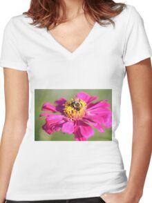 Flower Nnd Bumble Bee  Women's Fitted V-Neck T-Shirt