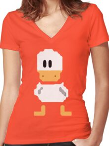 Cute simple Duck Women's Fitted V-Neck T-Shirt