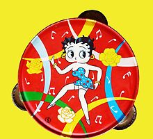 Vintage Betty Boop Tambourine (on yellow) by MHen