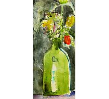 green vase... with flowers Photographic Print