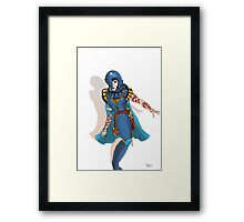 Blue Science fiction Warrior  [Pen Drawn Fantasy Figure Illustration] Framed Print