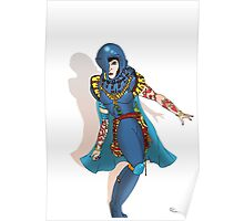 Blue Science fiction Warrior  [Pen Drawn Fantasy Figure Illustration] Poster