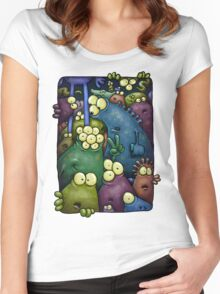 A crowd of chest dwelling aliens ... Women's Fitted Scoop T-Shirt