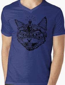 'Psychedelic Cat' Mens V-Neck T-Shirt