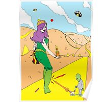 Desert Saucers  [Pen Drawn Fantasy Figure Illustration] Poster